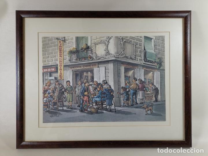 Arte: LAMINA DIBUJO DE 1ª TROBADA PUNTAIRES EN ACTUAL XOCOLATERIA PLAÇA NOVA EL VENDRELL-FIRMADO - Foto 3 - 255960295