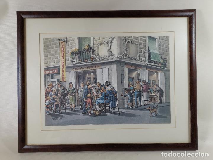 Arte: LAMINA DIBUJO DE 1ª TROBADA PUNTAIRES EN ACTUAL XOCOLATERIA PLAÇA NOVA EL VENDRELL-FIRMADO - Foto 4 - 255960295