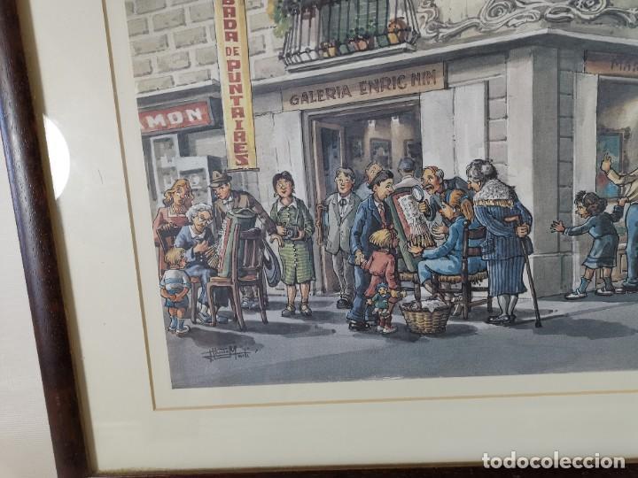 Arte: LAMINA DIBUJO DE 1ª TROBADA PUNTAIRES EN ACTUAL XOCOLATERIA PLAÇA NOVA EL VENDRELL-FIRMADO - Foto 5 - 255960295