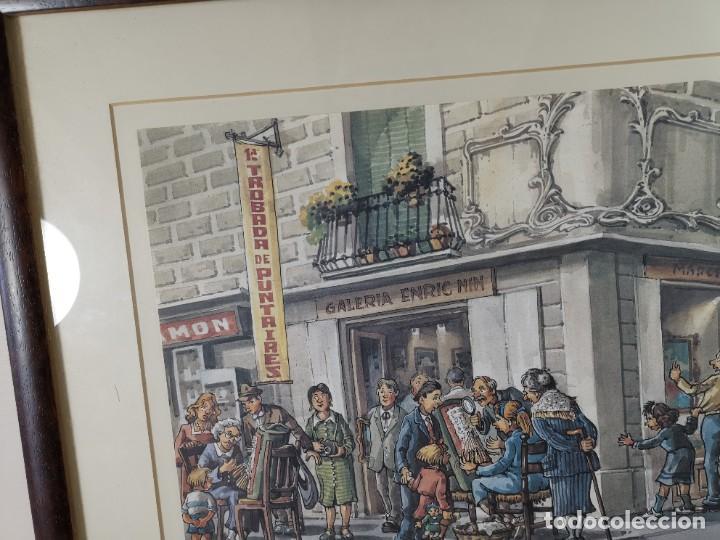Arte: LAMINA DIBUJO DE 1ª TROBADA PUNTAIRES EN ACTUAL XOCOLATERIA PLAÇA NOVA EL VENDRELL-FIRMADO - Foto 6 - 255960295