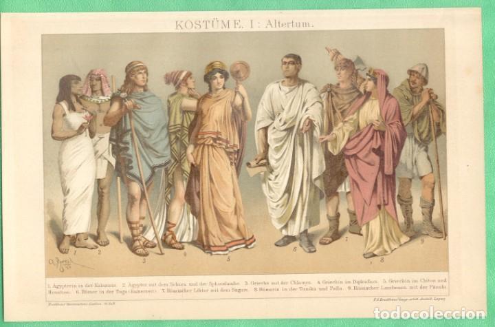 HISTORIA DEL VESTIDO ANTIGÜEDAD (KOSTÜME I: ALTERTUM) CROMOLITOGRAFÍA BROCKHAUS LEXIKON 1893 (Arte - Cromolitografía)