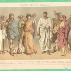Arte: HISTORIA DEL VESTIDO ANTIGÜEDAD (KOSTÜME I: ALTERTUM) CROMOLITOGRAFÍA BROCKHAUS LEXIKON 1893. Lote 255961160