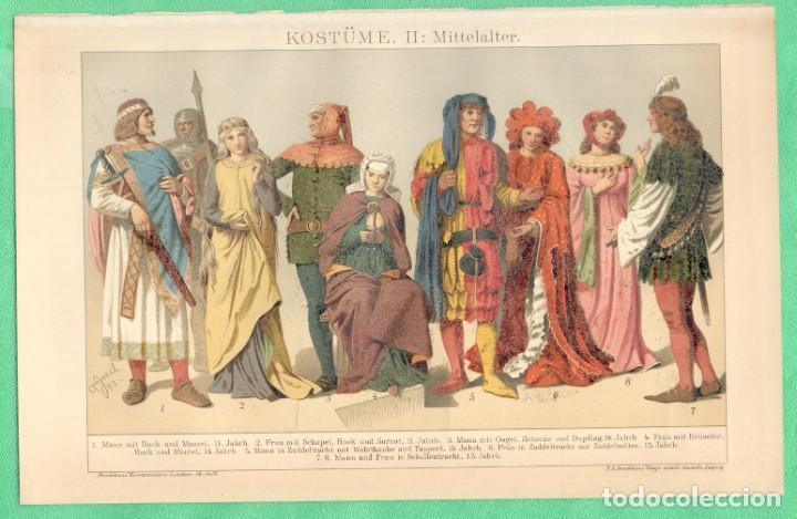 HISTORIA DEL VESTIDO EDAD MEDIA (KOSTÜME II: MITTELALTER) CROMOLITOGRAFÍA BROCKHAUS LEXIKON 1893 (Arte - Cromolitografía)