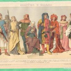 Arte: HISTORIA DEL VESTIDO EDAD MEDIA (KOSTÜME II: MITTELALTER) CROMOLITOGRAFÍA BROCKHAUS LEXIKON 1893. Lote 255961630