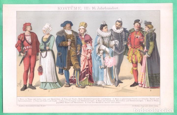 HISTORIA DEL VESTIDO SIGLO XVI (KOSTÜME III: 16. JAHRHUNDERT) CROMOLITOGRAFÍA BROCKHAUS LEXIKON 1893 (Arte - Cromolitografía)