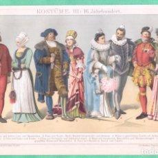Arte: HISTORIA DEL VESTIDO SIGLO XVI (KOSTÜME III: 16. JAHRHUNDERT) CROMOLITOGRAFÍA BROCKHAUS LEXIKON 1893. Lote 255962355