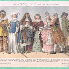 Arte: HISTORIA DEL VESTIDO SIGLO XVII Y XVIII (17 Y 18 JAHRHUNDERT) CROMOLITOGRAFÍA BROCKHAUS LEXIKON 1893. Lote 255963370