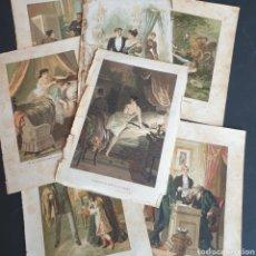 Arte: LOTE DE 7 CROMOLITOGRAFIA EUSEBIO PLANAS 1890 - 1891 SIGLO XIX CELOS DE ESPOSA. Lote 260648640