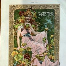 Arte: GASPAR CAMPS. ART NOUVEAU. CROMOLITOGRAFÍA. CARTEL ARTÍSTICO. 1900. ALEGORÍA MES DE SEPTIEMBRE. Lote 261604910