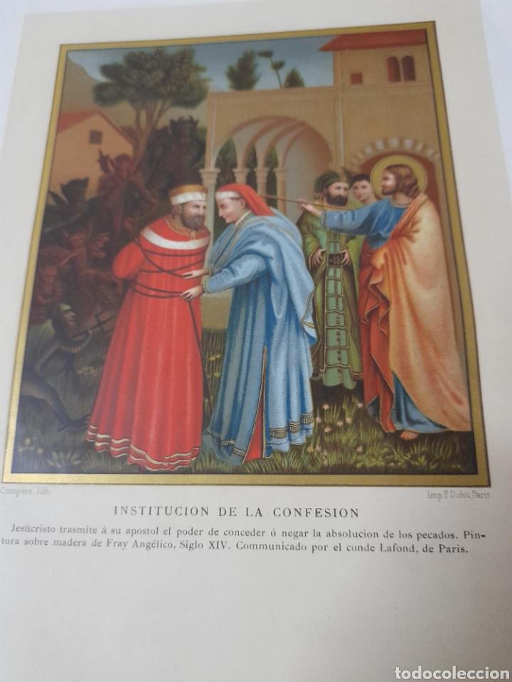 Arte: Antigua cromolitografia de 1881, Institución a la confesion - Foto 2 - 262509695