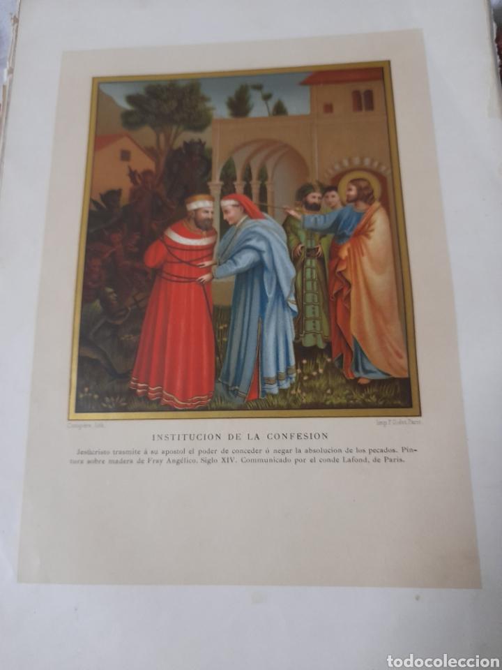 ANTIGUA CROMOLITOGRAFIA DE 1881, INSTITUCIÓN A LA CONFESION (Arte - Cromolitografía)