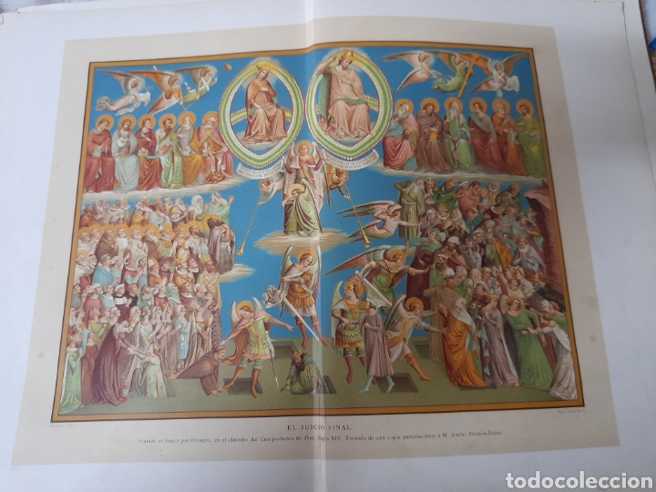 ANTIGUA CROMOLITOGRAFIA DE 1881, EL JUICIO FINAL (Arte - Cromolitografía)