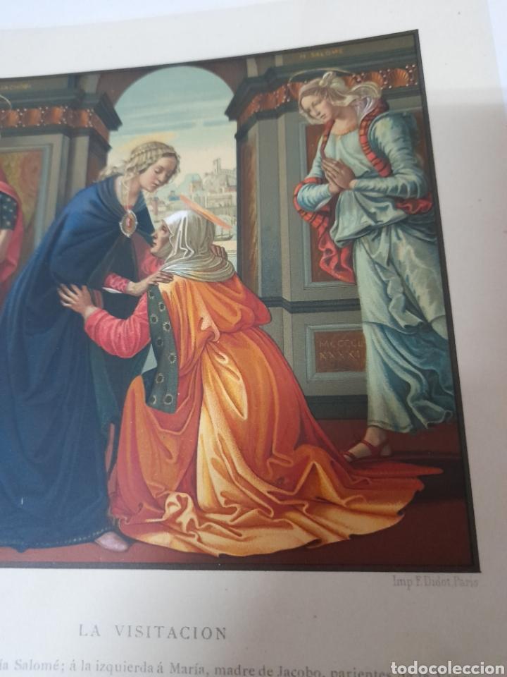 Arte: La visitación, Antigua cromolitografia de 1881 - Foto 3 - 262513375