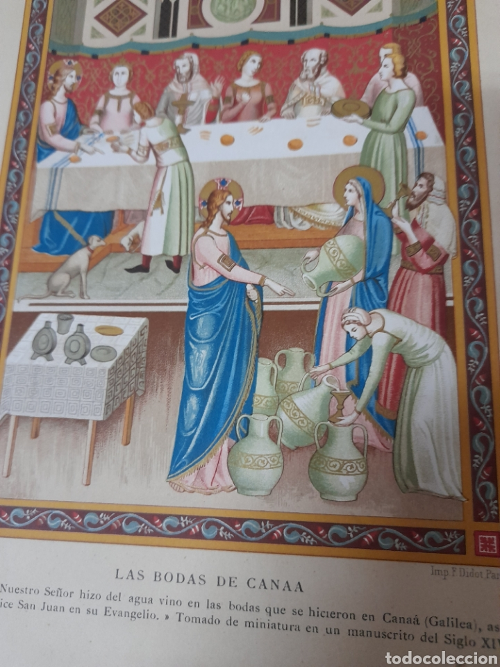 Arte: Las bodas de Canaa ,Antigua cromolitografia de 1881 - Foto 2 - 262513640