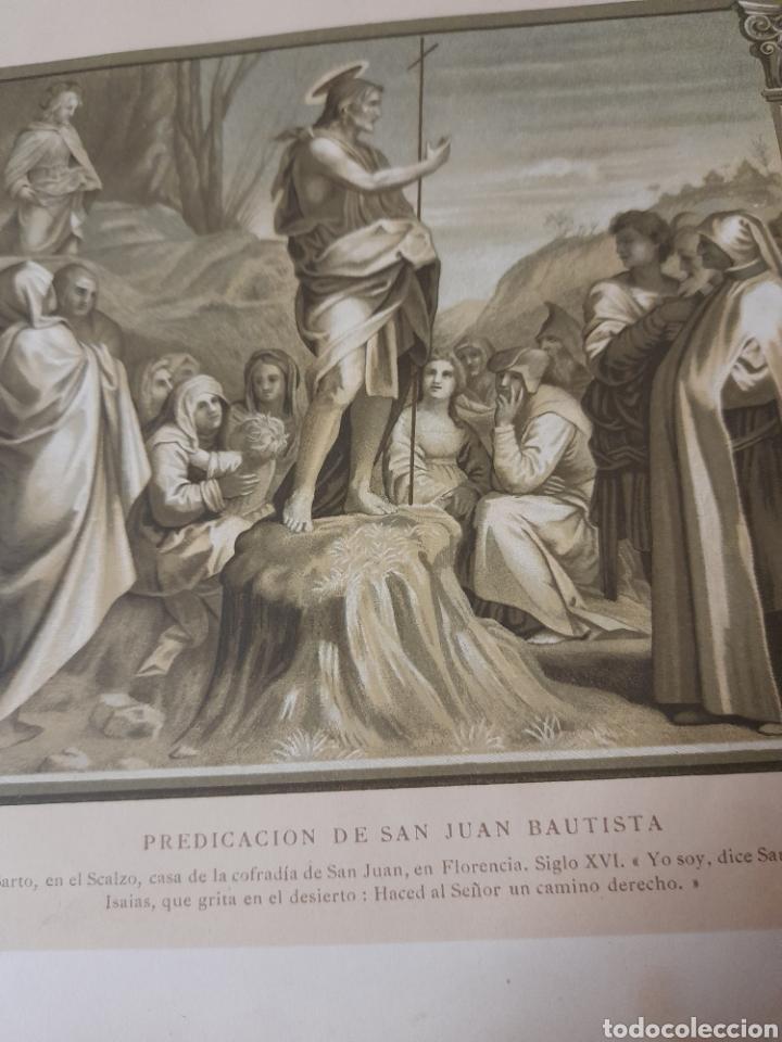 Arte: Predicación de San Juan Bautista, Antigua cromolitografia de 1881 - Foto 2 - 262513945