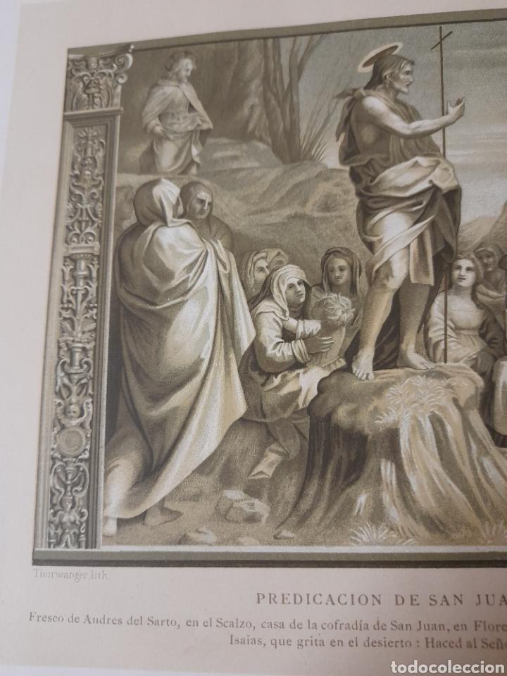 Arte: Predicación de San Juan Bautista, Antigua cromolitografia de 1881 - Foto 3 - 262513945