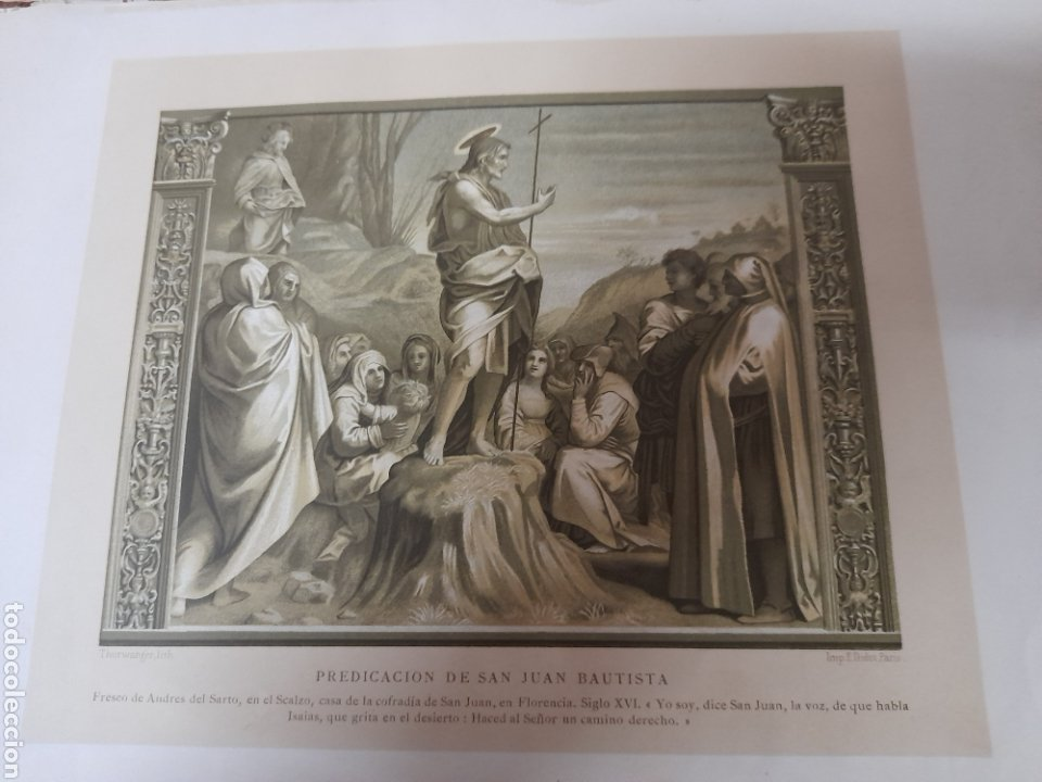 PREDICACIÓN DE SAN JUAN BAUTISTA, ANTIGUA CROMOLITOGRAFIA DE 1881 (Arte - Cromolitografía)