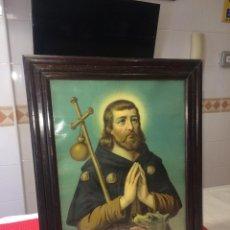 Art: SAN ROQUE - CROMOLITOGRAFÍA 100 AÑOS DE ANTIGUEDAD - ENMARCADA - 50 X 40 CMS.. Lote 264418204