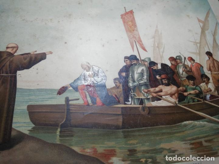 Arte: Antigua cromolitografía: Salida de Cristóbal Colón del Puerto de Palos. Lit de J. Palacios - Foto 12 - 254057670