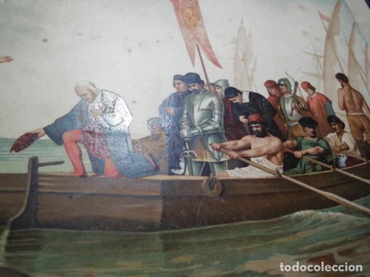 Arte: Antigua cromolitografía: Salida de Cristóbal Colón del Puerto de Palos. Lit de J. Palacios - Foto 13 - 254057670