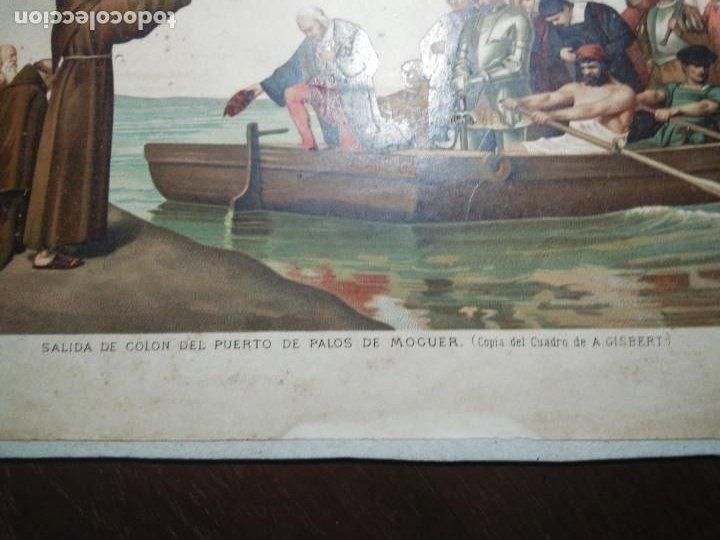 Arte: Antigua cromolitografía: Salida de Cristóbal Colón del Puerto de Palos. Lit de J. Palacios - Foto 14 - 254057670