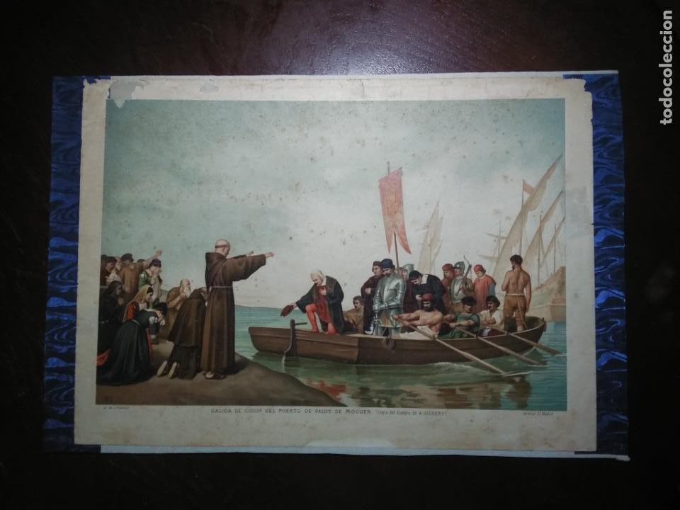 Arte: Antigua cromolitografía: Salida de Cristóbal Colón del Puerto de Palos. Lit de J. Palacios - Foto 2 - 254057670