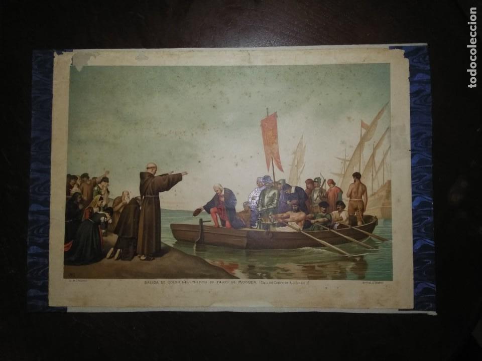 Arte: Antigua cromolitografía: Salida de Cristóbal Colón del Puerto de Palos. Lit de J. Palacios - Foto 15 - 254057670