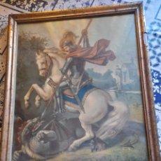 Arte: ANTIGUA CROMOLITOGRAFIA DE SAN JORGE,SIGLO XIX. Lote 274363668