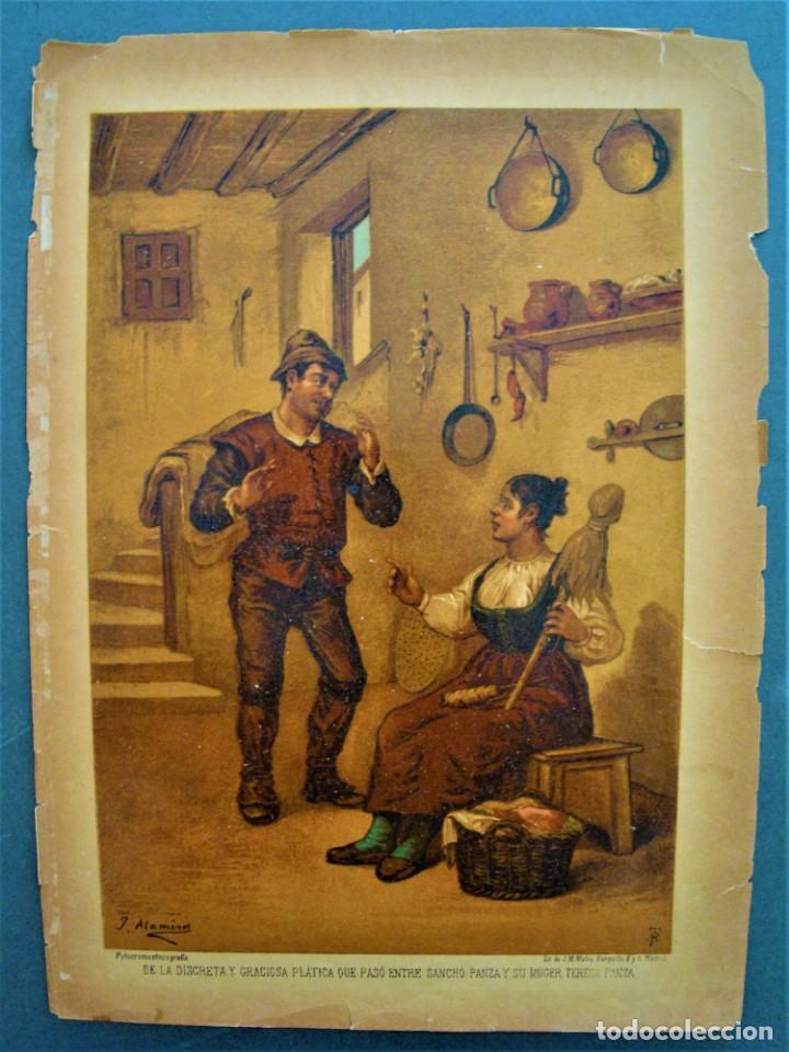 CROMOLITOGRAFÍA DE SANCHO PANZA Y SU MUJER TERESA PANZA.SIGLO XIX. (Arte - Cromolitografía)