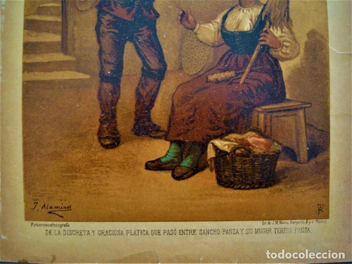 Arte: CROMOLITOGRAFÍA DE SANCHO PANZA Y SU MUJER TERESA PANZA.SIGLO XIX. - Foto 2 - 278572298