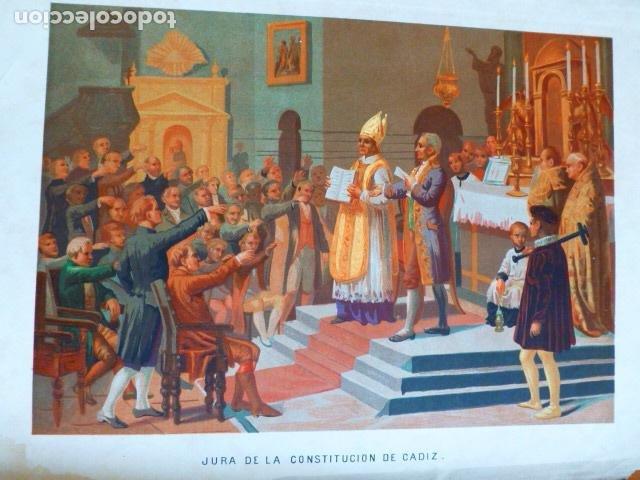 JURA DE LA CONSTITUCION DE CADIZ ANTIGUA CROMOLITOGRAFIA SIGLO XIX 23 X 33 CMTS (Arte - Cromolitografía)