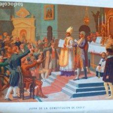 Arte: JURA DE LA CONSTITUCION DE CADIZ ANTIGUA CROMOLITOGRAFIA SIGLO XIX 23 X 33 CMTS. Lote 289625923