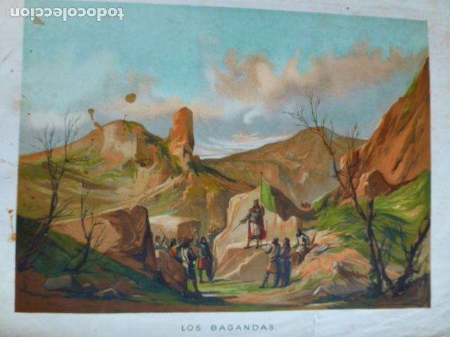 LOS BAGANDAS ANTIGUA CROMOLITOGRAFIA SIGLO XIX 23 X 33 CMTS (Arte - Cromolitografía)