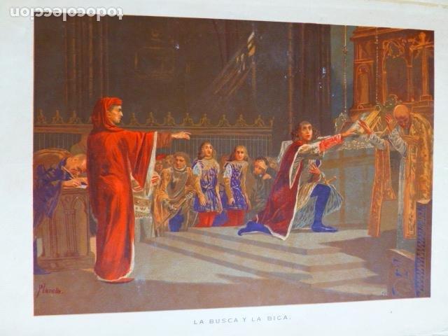 LA BISCA Y LA BICA ANTIGUA CROMOLITOGRAFIA SIGLO XIX 23 X 33 CMTS (Arte - Cromolitografía)