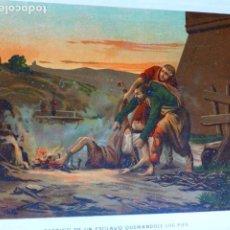 Arte: CASTIGO DE UN ESCLAVO QUEMANDOLE LOS PIES ANTIGUA CROMOLITOGRAFIA SIGLO XIX 23 X 33 CMTS. Lote 289626388