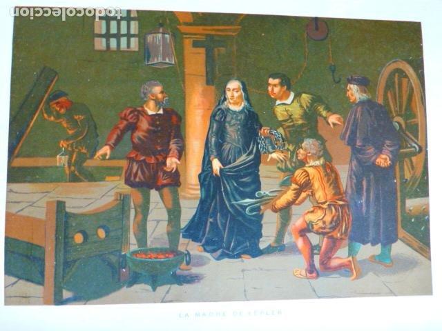 LA MADRE DE KEPLER ANTIGUA CROMOLITOGRAFIA SIGLO XIX 23 X 33 CMTS (Arte - Cromolitografía)