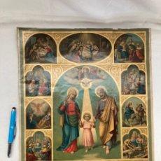 Arte: ANTIGUA CROMOLITOGRAFIA RELIGIOSA 1892!SAGRADA FAMILIA!. Lote 290137128