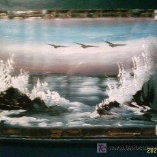 Arte: CUADRITO PINTADO A MANO. ENMARCADO ENTRE DOS CRISTALES. PAISAJE 14X11 . Lote 4752669