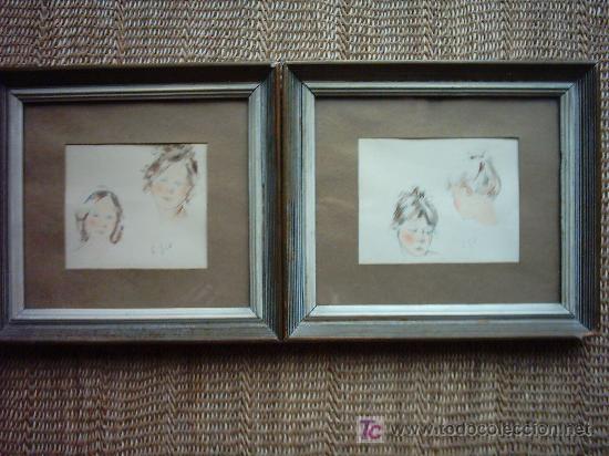 S. GIL. LAPICES DE COLORES/PAPEL (2). 13 X 10 CM. SIN MARCO. FIRMADOS. (Arte - Dibujos - Contemporáneos siglo XX)