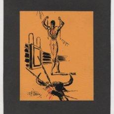 Arte: INTERANTE OBRA DE ARTE DE F. PIÑANA TEMA TAUROMAQUIA ORIGINAL. Lote 23878598