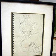 Arte: 1448.- DIBUJO TINTA 34X29 CON MARCO Y CRISTAL. ANONIMO. Lote 24288544