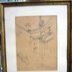 Arte: 1490.- DIBUJO LAPIZ 36X31 ,,,BOCETO ARQUITECTONICO,,, E.MEJIAS. Lote 25826818