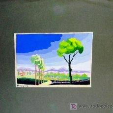 Arte - 1608.- Dibujo Gouache 35x50 ,,, 1 paisaje,,, Firmado: Zafra - 27017140