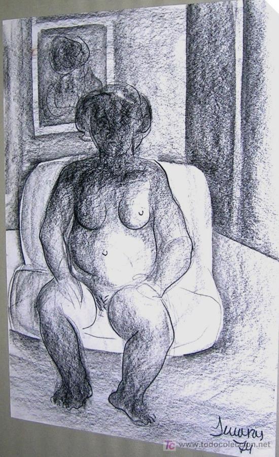 ALFONSO SUCASAS GUERRA. DIBUJO A LAPIZ. FIRMADO 1974. MUJER EN ESPERA. CERTIFICADO.. (Arte - Dibujos - Contemporáneos siglo XX)