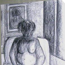Arte: ALFONSO SUCASAS GUERRA. DIBUJO A LAPIZ. FIRMADO 1974. MUJER EN ESPERA. CERTIFICADO... Lote 27636368