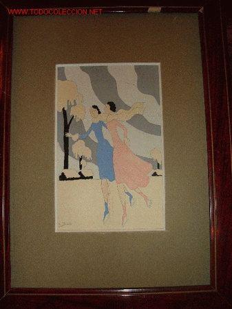 DIBUJO ORIGINAL ART-DECO ESQUIADORAS FIRMADO. (Arte - Dibujos - Contemporáneos siglo XX)