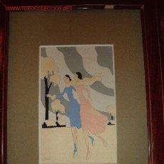 Arte: DIBUJO ORIGINAL ART-DECO ESQUIADORAS FIRMADO.. Lote 2574736
