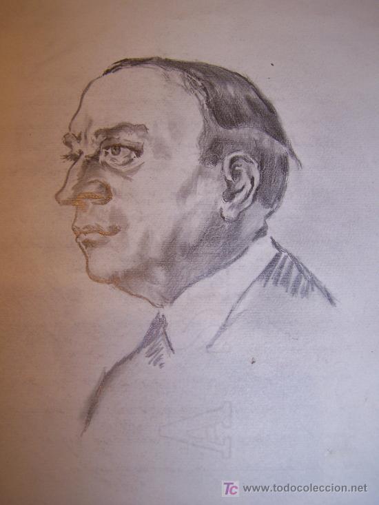 ANTIGUO RETRATO DIBUJO ORIGINAL (Arte - Dibujos - Contemporáneos siglo XX)