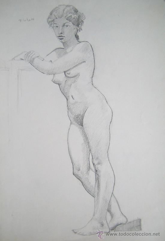 LÁPIZ SOBRE PAPEL - FIRMADO - FLOTATS (FLOTATS NACIDO EN BARCELONA AÑO 1917) (Arte - Dibujos - Contemporáneos siglo XX)