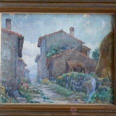 Arte: PUEBLO SIN IDENTIFICAR. FIRMADO: ROIG ENSEÑAT, 1946. 54X68 CM. MARCO: 80 X 66 CM. POR RESTAURAR.. Lote 23636687